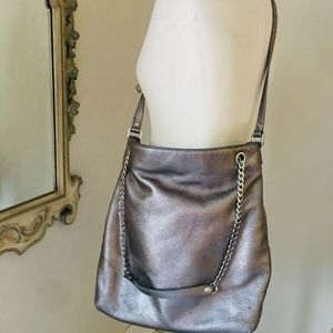 Michael Kors metallic leather chain shoulder bag
